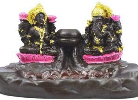Today Fashion Polyresin Laxmi Ganesha Smoke Incense Holder with 10 Incense Cones