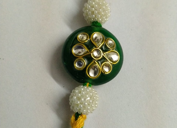 Today Fashion Kundan Green Rakhi for Brother
