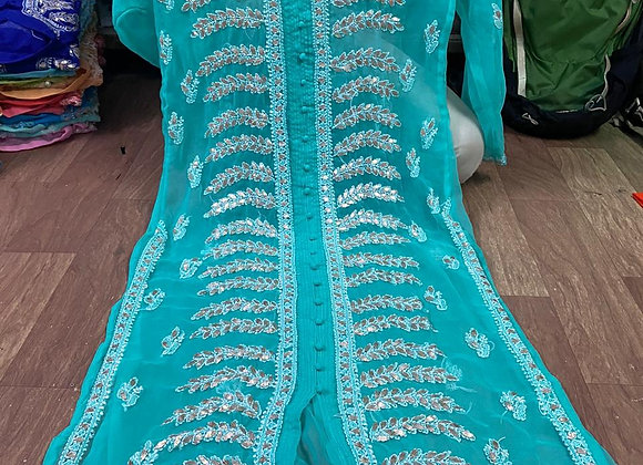 Today Fashion Women's Embroidered Front Open Georgette Long Kurti