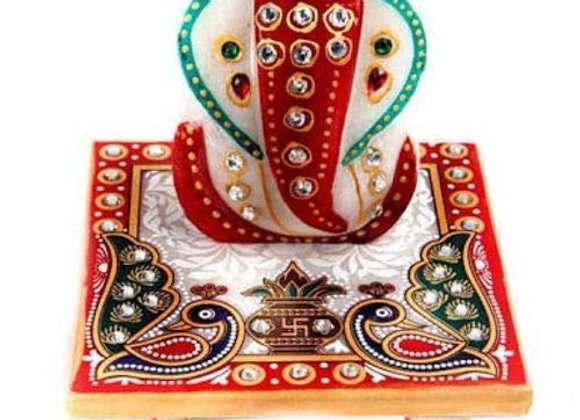 "Marble Ganesha Chaturthi Special Ganapati with Chowki (2.5"" Ganesha & 4"" Chowki)"