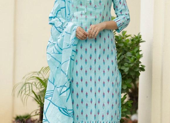 Today Fashion printed Cotton Kurti, Palazzo With Dupatta Set