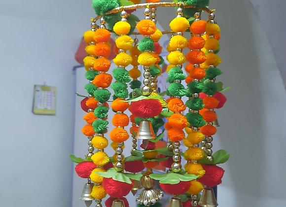 Today Fashion Handmade Pom Pom with Hanging Bells Jhumar/Toran Jhumar