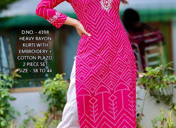 Today Fashion Women's Rayon Jaipuri Printed Heavy Work Kurti Palazzo Set
