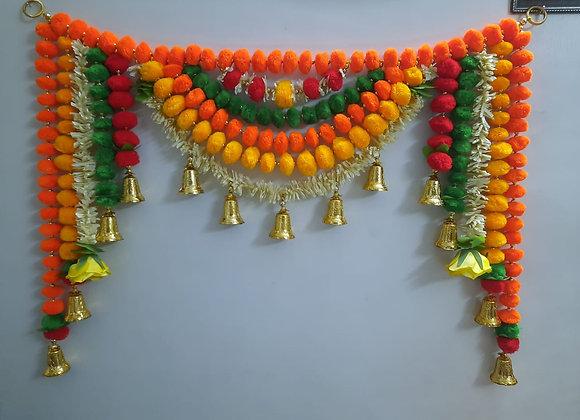 Today Fashion Handmade pom pom Door Bandarwar with Golden Hanging Bells/Toran