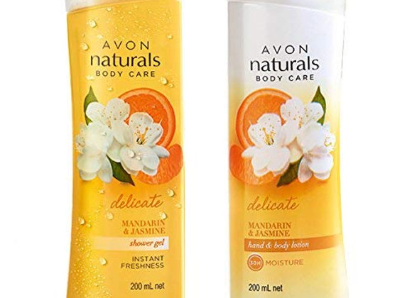 Avon Naturals Mandarine and Jasmine Body Lotion and Shower Gel -Combo Set
