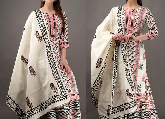 TODAY FASHION WOMEN'S COTTON PRINTED KURTI SARARA WITH DUPATTA