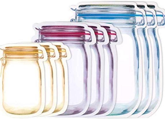 TF Mason Jar Pouch ziplock bags for Food Storage 15pcs