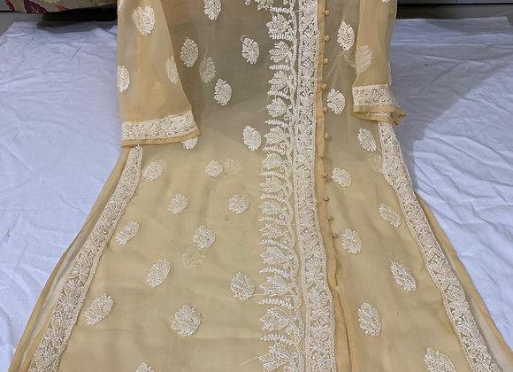 Today Fashion Angrakha style Hand Embroidered Chikankari Anarkali Long KurtI