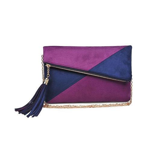 Color Block Clutch-Navy/Purple