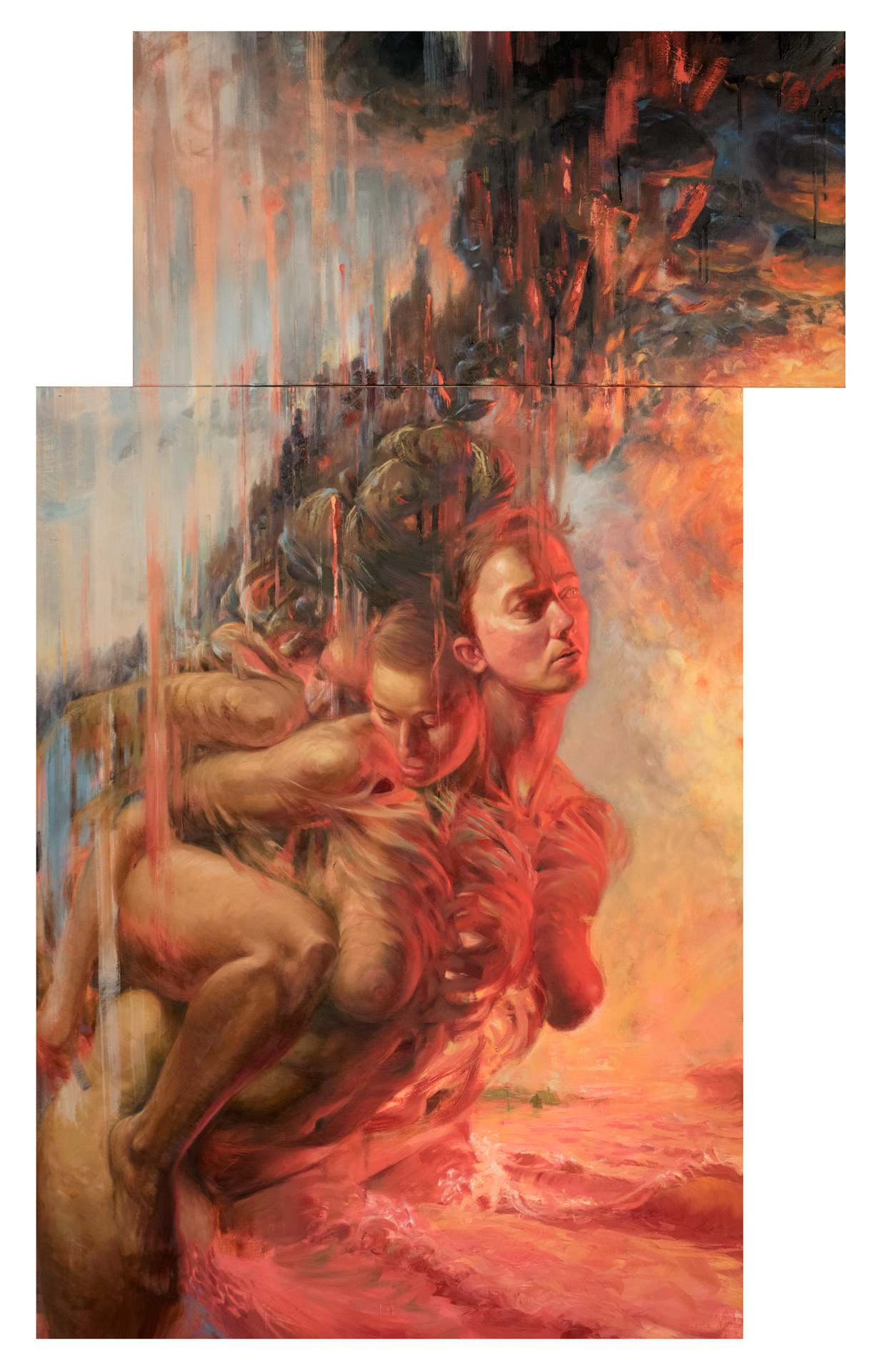 "Nicole Cooper Oil Painting ""Rise"" (diptych)"