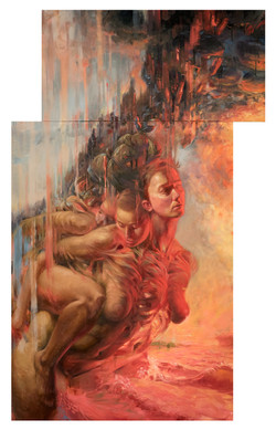 """Nicole Cooper Oil Painting """"Rise"""" (diptych)"""