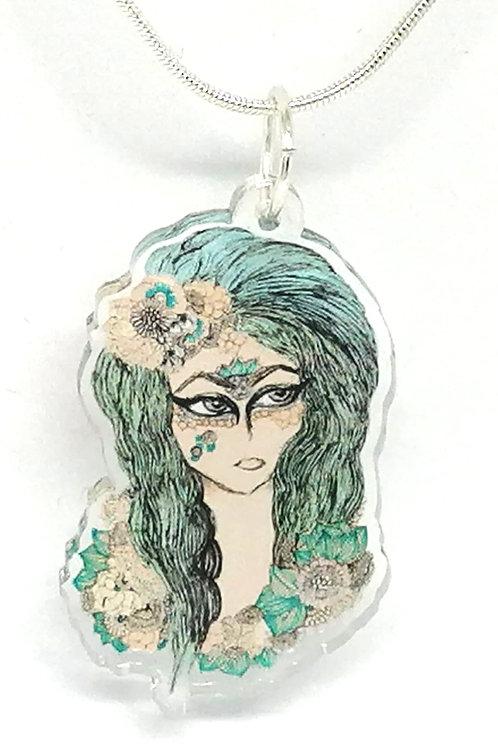 Blue Hair Girl Necklace