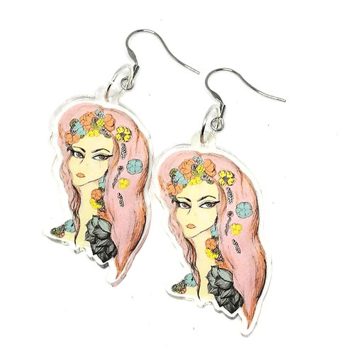 Pink Hair don't Care Earrings