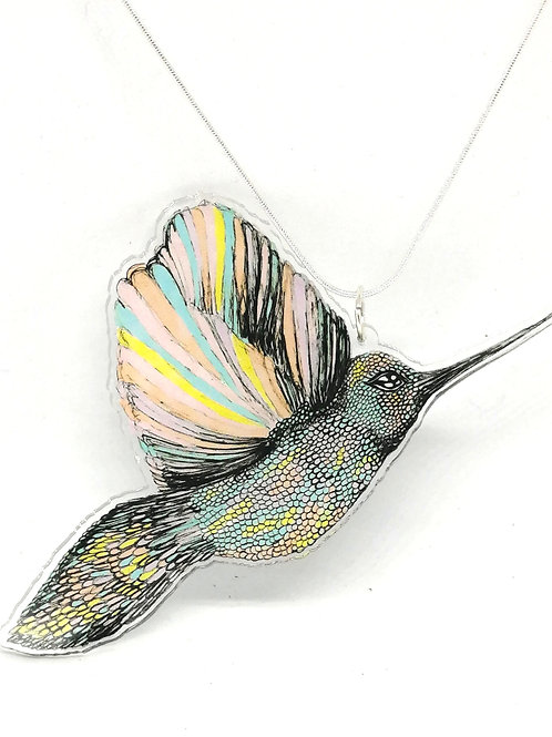 Statement Pastel Hummingbird Necklace