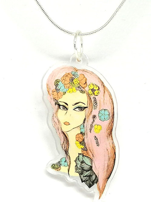 Pink Hair don't Care Necklace