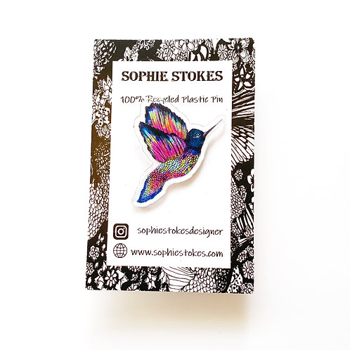 Rainbow Hummingbird Pin Badge