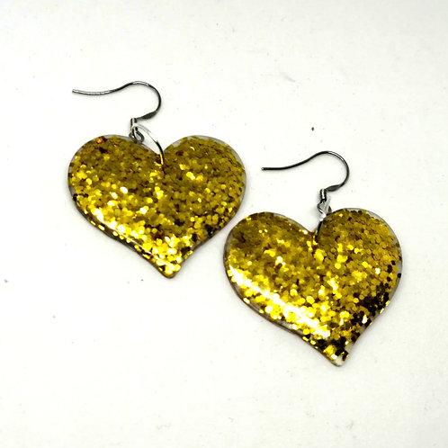 Gold Resin Heart Earrings