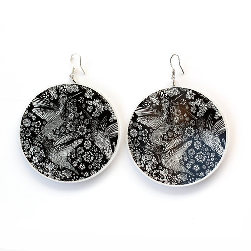 Antoinette's Teaparty Black Circle Earrings