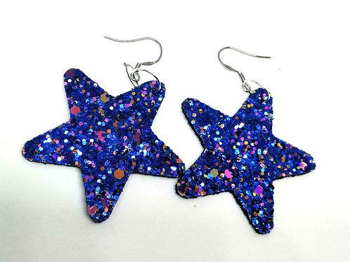 Glitter Blue Star Faux Leather Earrings