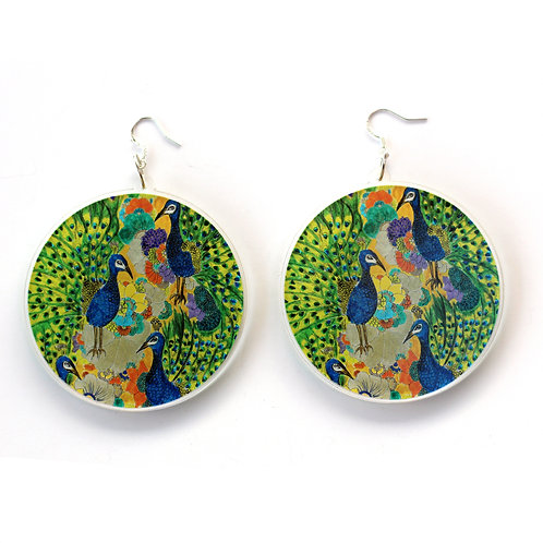 Peacock Party Circle Earrings