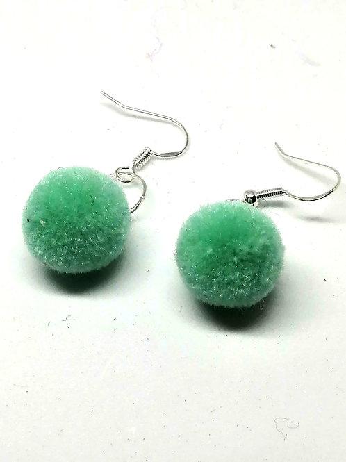 Light Blue Pom Pom Earrings