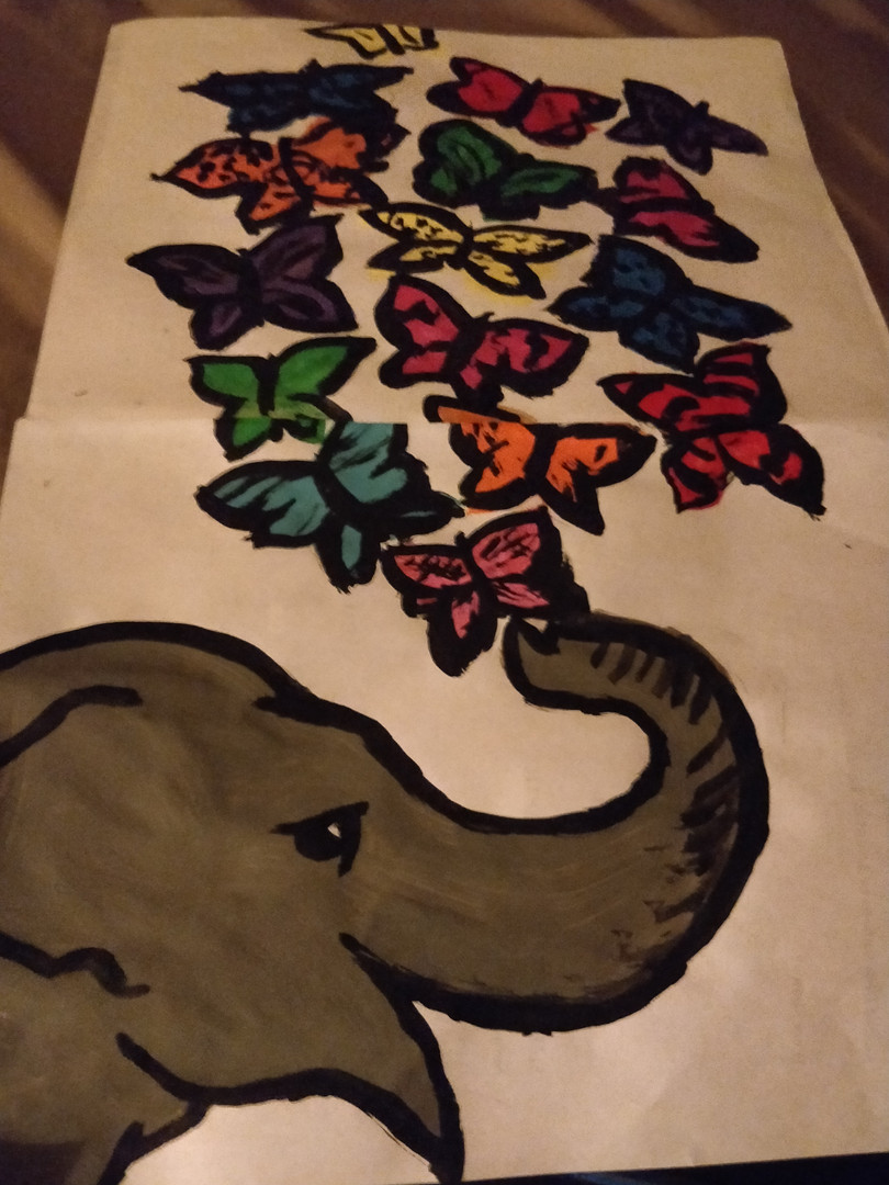 Elephant Butterfly Collage