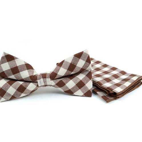 Men's Brown Beige Plaid Cotton Bow Tie & Matching Pocket Square