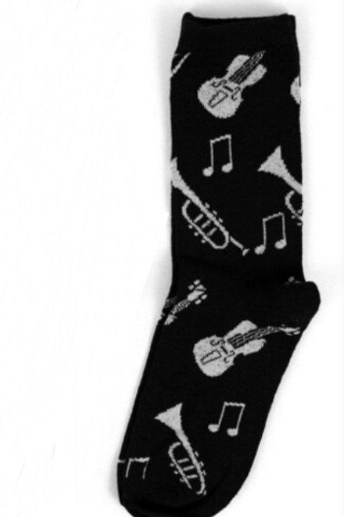 Music Instruments Socks - Black & Grey