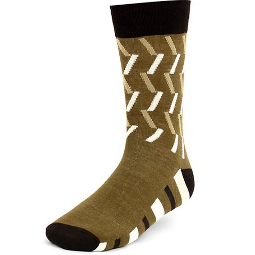 Dark Brown Men's Taupe Casual Fancy Socks