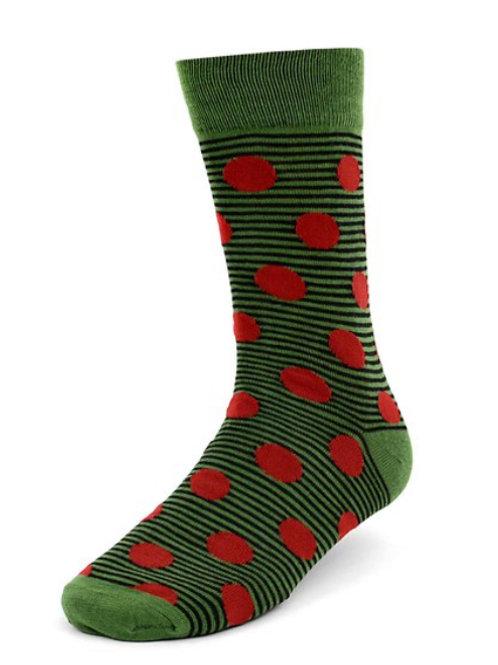 Men's Green-Red Polka Dots Casual Fancy Socks