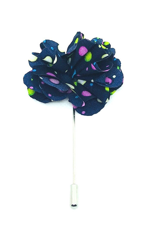 Navy Blue Polka Dots Poly Flower Lapel Pins