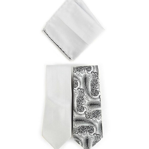 Paisley & Solid Silver Microfiber Poly Woven Two Ties & Hanky Set