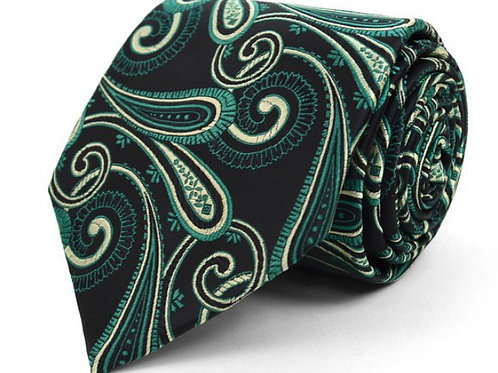 Olive Paisley Microfiber Poly Woven Tie