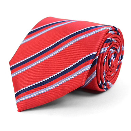 Red Striped Microfiber Poly Woven Tie