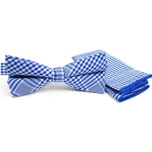 Plaid Blue Cotton Bow tie & Matching Pocket Square
