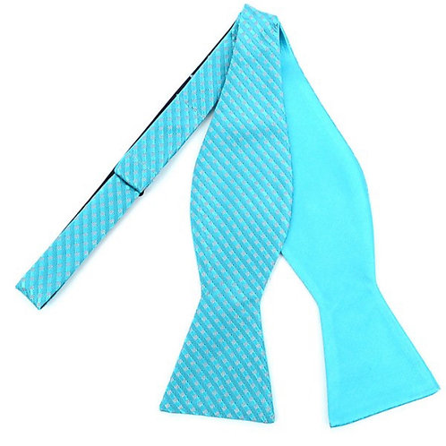 Teal Silk Woven Freestyle and Reversible Bow Tie