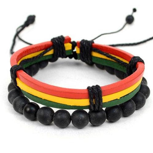 "Genuine Leather & Natural Stone ""Rasta Flag Color"" Two Pieces Bracelet Set"