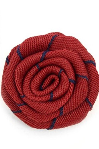 Men's Burgundy Fabric Flower Boutonniere Clutch Back Lapel Pins