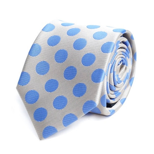 Tan & Royal Blue Polka Dots Microfiber Poly Woven Tie