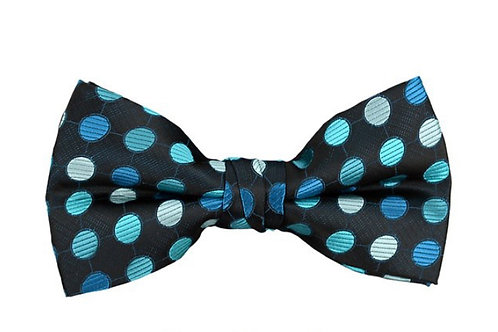 Turquoise Men's Poly Woven Polka Dot Banded Bow Tie