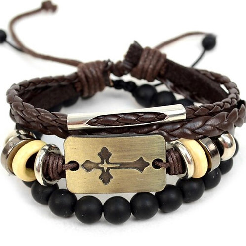 Genuine Brown Leather & Natural Stone Two Pieces Bracelet Set for Men