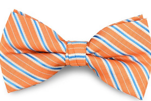 Orange Poly Woven Striped Banded Bow Tie