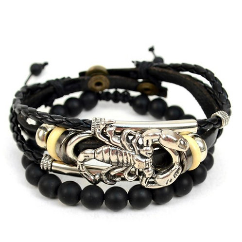 "Genuine Leather & Natural Stone ""Scorpion"" Two Pieces Bracelet Set"