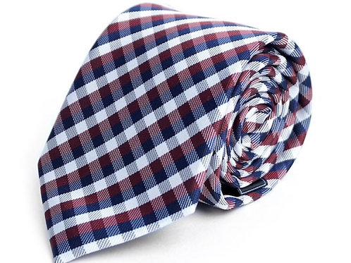 Wine Plaid Microfiber Poly Woven Tie