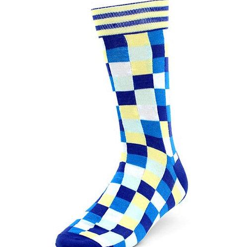 Men's Light Blue Casual Fancy Socks