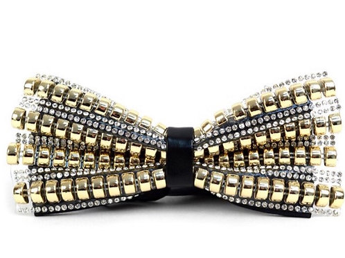 Gold Beads & Silver Stones Men's Bow Tie