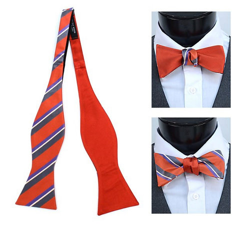 Orange Silk Woven Freestyle and Reversible Bow Tie