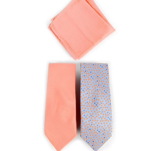 Dots & Solid Peach Microfiber Poly Woven Two Ties & Hanky Set