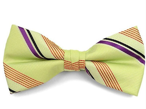 Green Poly Woven Striped Banded Bow Tie