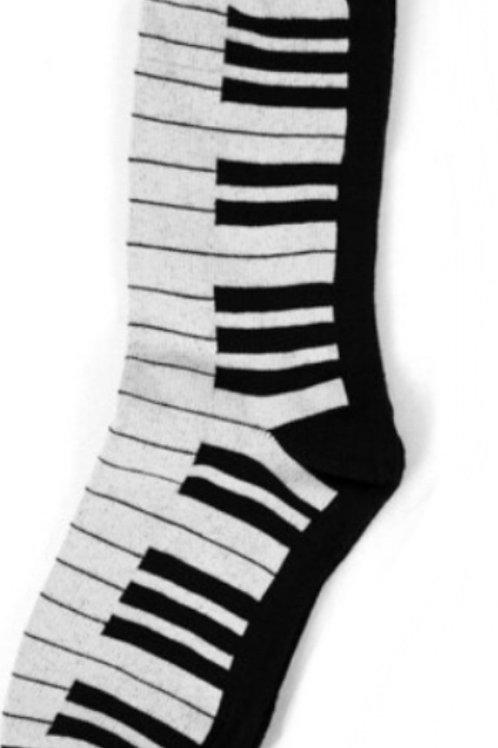 Music Lovers Piano Socks - Black & Grey
